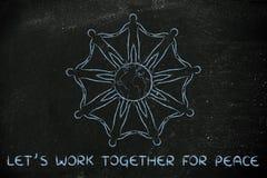 Humanidad que lleva a cabo pacífico las manos alrededor del planeta Imagen de archivo