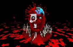 Humanidade da matança dos vírus Get vacinou Luta contra o vírus imagens de stock