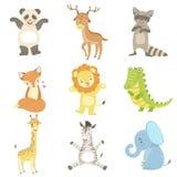 Humaniserad djuruppsättning av konstnärliga roliga klistermärkear vektor illustrationer