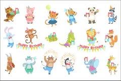 Humaniserade djura tecken som deltar i uppsättningen för beröm för födelsedagparti royaltyfri illustrationer