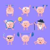 Humanisierter Brain Doing Different Activities Set der Intellekt-menschliches Organ-Zeichentrickfilm-Figur Emoji Lizenzfreie Stockfotografie