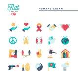 Humanitário, paz, justiça, direitos humanos e mais, ícones lisos Foto de Stock