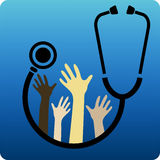 Humanitarian aid. Different colored hands on stethoscope Royalty Free Stock Photos