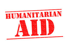 HUMANITARIAN AID. Red Rubber Stamp over a white background Stock Photo