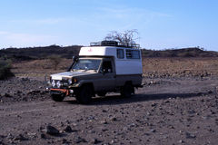 Humanitarian aids. A delivery van of an international organisation carries humanitarian aids for Turkana people in Kenya - Africa Royalty Free Stock Photo