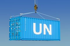 Humanitarian cargo from UN concept. 3d rendering. Humanitarian cargo from UN concept. 3d Royalty Free Stock Images