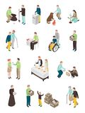 Humanitarian Charity Characters Collection. Charity volunteer people isometric set of isolated human characters of different age doing various humanitarian Stock Photography