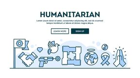 Humanitarian, concept header, flat design thin line style. Vector illustration Stock Photo