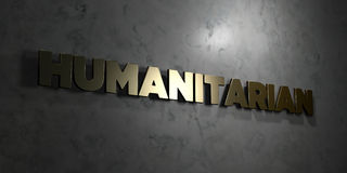 Humanitarian - Gold text on black background - 3D rendered royalty free stock picture Royalty Free Stock Photos