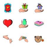 Humanitarian icons set, cartoon style Stock Photography