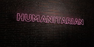 HUMANITARIAN -Realistic Neon Sign on Brick Wall background - 3D rendered royalty free stock image. Can be used for online banner ads and direct mailers Stock Images