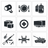 Humanitarian relief Icons set Stock Photo