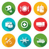 Humanitarian relief Icons Set. Vector Illustration. Royalty Free Stock Images