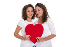 Humanity or friendship concept: isolated real twins with a red h Stock Photos