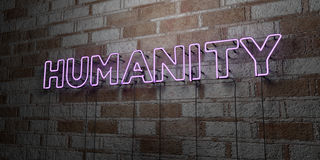 HUMANITY - Glowing Neon Sign on stonework wall - 3D rendered royalty free stock illustration. Can be used for online banner ads and direct mailers Stock Photo