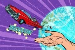 Humanity launches into space car. Pop art retro comic book vector cartoon hand drawn illustration Stock Photos