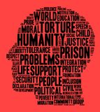 Humanity word cloud concept. Over red background Stock Photography