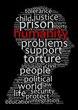 Humanity word cloud concept. Over dark background Royalty Free Stock Photos