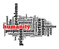 Humanity word cloud concept. Over white background Royalty Free Stock Photos