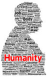 Humanity word cloud shape. Concept Royalty Free Stock Image