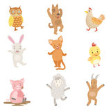 Humanized Animals Collection Of Artistic Funny Stickers Stock Image