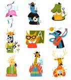 Humanized Animals Different Professions Set. Humanized animals of different professions set with owl teacher, rhino policeman, giraffe fire fighter isolated Royalty Free Stock Photos