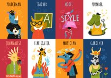 Humanized Animals Professions Vertical Cards. With flamingo model, parrot journalist, cow gardener, owl teacher isolated vector illustration Royalty Free Stock Images