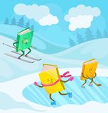 Humanized books characters with smiling faces skiing, stock illustration