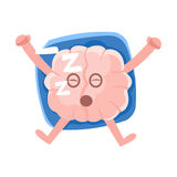 Humanized Brain Sleeping On The Back On The Pillow, Intellect Human Organ Cartoon Character Emoji Icon. Human Mind And Lifestyle Emoticon Illustration Showing royalty free illustration
