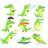 Humanized Crocodile Character Every Day Activities Collection Of Illustrations Royalty Free Stock Images