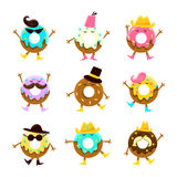 Humanized Doughnut Cartoon Characters With Arms And Legs With Different Facial Features Set On White Background Stock Images