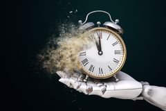 Humankind`s Time. Robot hand holding an alarm clock crumbling down into the dust. 3D illustration Stock Photography