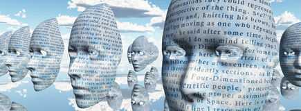 Humanlike faces covered in text. Human like faces covered in text Royalty Free Stock Photography