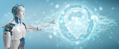 Humanoïde blanc utilisant le hologr numérique d'icône d'intelligence artificielle