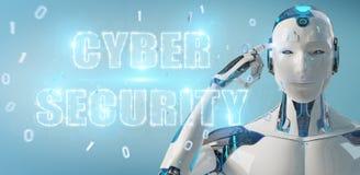 Humanoïde blanc utilisant le rendu de l'hologramme 3D des textes de sécurité de cyber illustration de vecteur