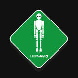 Humanoid alien warning sign in vector Stock Image