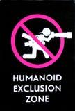 Humanoid Ausschluss-Zonen-Zeichen keine Fotografie stockfotos