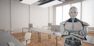 Humanoid Büro des Roboter-offenen Raumes lizenzfreie abbildung