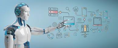 Humanoid branco que controla o sistema de relação moderno dos dispositivos ilustração royalty free