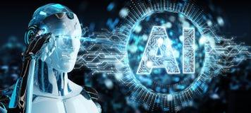 Humanoid branco usando o hologr digital do ícone da inteligência artificial ilustração royalty free
