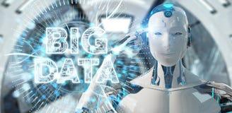 Humanoid branco usando a rendição digital do holograma 3D dos dados grandes ilustração do vetor