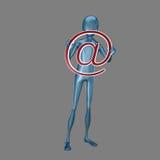 humanoid 3d que guardara no símbolo Fotografia de Stock Royalty Free