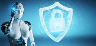 Humanoid da mulher branca usando a rendição da segurança 3D da Web ilustração royalty free
