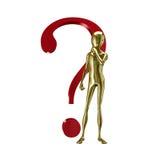 Humanoid do ouro 3d com pergunta Fotografia de Stock