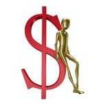 Humanoid do ouro 3d com símbolo do dólar Imagens de Stock Royalty Free