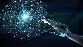 Humanoid do robô inteligente usando a rendição digital da rede global 3D ilustração stock