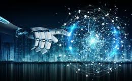 Humanoid do robô inteligente usando a rendição digital da rede global 3D ilustração do vetor