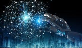Humanoid do rob? inteligente usando a rendi??o digital da rede global 3D ilustração stock