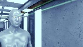 Humanoid head and futuristic room Stock Image