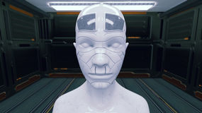 Humanoid head and futuristic room Stock Photos